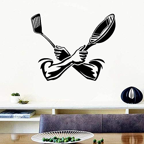 ggyyy Vinyl Wall Sticker Kitchen Cooking Spatula Pot Wall Sticker Kitchen Restaurant Decoration Gift Mural Art Deco Movable 53X42CM