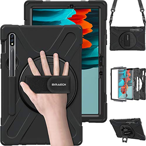 BRAECN Samsung Galaxy Tab S7 Case 2020, Heavy Duty Shockproof Rugged Case with S Pen Holder, Hand Strap, Carrying Shoulder Strap, Kickstand for Galaxy Tab S7 11 Inch SM-T870 SM-T875 2020 Model- Black