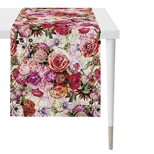Apelt Tischdecke 1313 Herbstzeit Rosenallover l 48x140cm l Pink/Rose