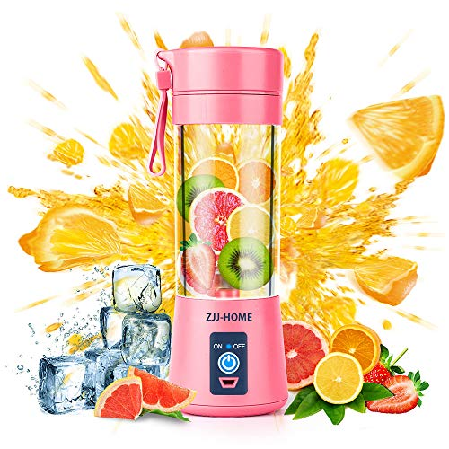 Portable Blender,Zjj-Home Smoothie Blender-Six Blades in 3D, Mini Travel Personal Blender with USB Rechargeable Batteries,Household Fruit Mixer,Detachable Cup ,USB Juicer Cup 380ml (FDA BPA free) (pink)
