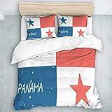 TARTINY Bedding Juego de Funda de Edredón patrón de Bandera de panamá profundi/Microfibra Funda de Nórdico y Fundas de Almohada,(Cama 200 x 200cm)