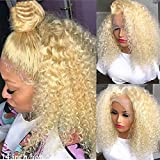 Carrotor 613 Lace Front Wig Human Hair Kinky Curly Human Hair Wigs 180% Density Full And Thick T Part Blonde Lace Front Wig(16inch)