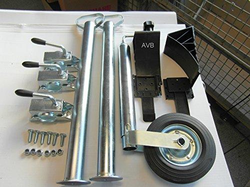 AVB Abstellpaket Stützrad, Stützen 700 mm & Halter & Schrauben Keile schwarz
