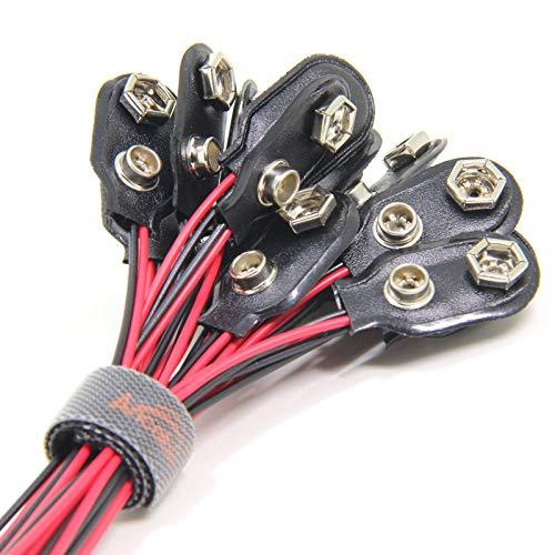5 Stück 9-V-Batterie-Schnappverbinder I Typ, 9-Volt-Batterieklemmen-Anschluss Schnalle Kunststoffgehäuse, Typ I