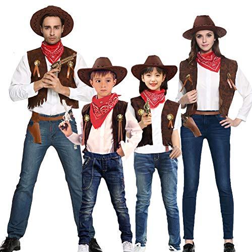 NIMIFOOL Disfraces para niños Hermoso Disfraz de Vaquero Occidental Familia Unisex de Padres e Hijos Adecuado para la Fiesta Familiar de Halloween y diviértete,130-140cm