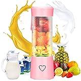 Podazz Mini batidora portátil de frutas y verduras, USB recargable para frutas con 6 cuchillas, para zumo, verduras, batido, batido, batido, batido, 450 ml (Rosa)