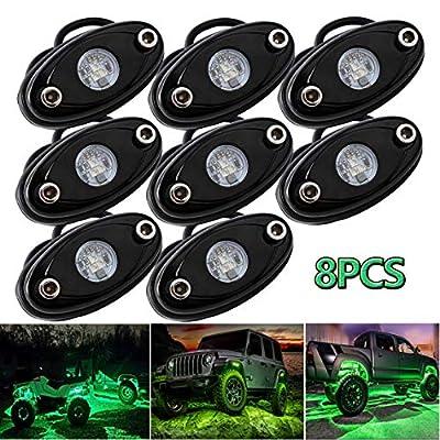 LEDMIRCY LED Rock Lights Green Kit 8PCS for JEE...