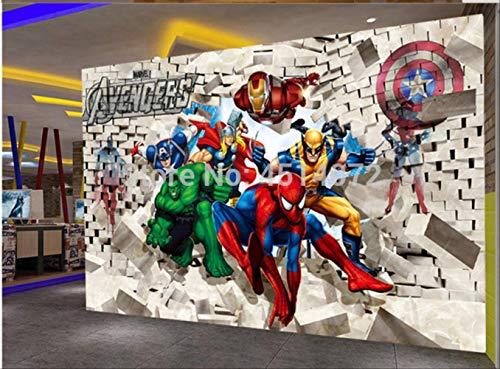 Benutzerdefinierte Foto Tapete Avenger Union Hulk Spiderman 3d Stereoskopische Backsteinmauer Hintergrund Malerei Kunst Wandaufkleber Breite 200 cm * Höhe 140 cm