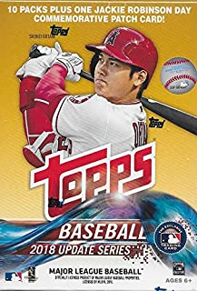 2018 Topps Update Series Baseball Unopened Blaster Box with 10 Packs and One EXCLUSIVE Jackie Robinson Day Commemorative Patch Card and Possible Rookies Autographs and Jersey Cards