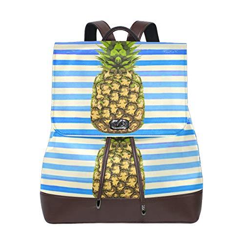 Ahomy Damen Rucksack aus Leder, Ananas-Streifen, wasserdicht, Diebstahlschutz, modisch, für Schule