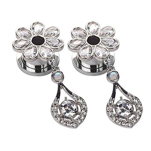 YOFANST Stainless Steel Elegant Flower Gem Ear Tunnels Dangle Gauges Piercings Jewelry 2g-5/8 Inch (Silver, 2g(6mm))