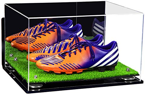 Better Display Cases Acrylic Large Shoe Pair Display Case for Basketball Shoes Soccer Cleats Football Cleats with Mirror, Wall Mount, Silver Risers and Turf Base (A082-SR)