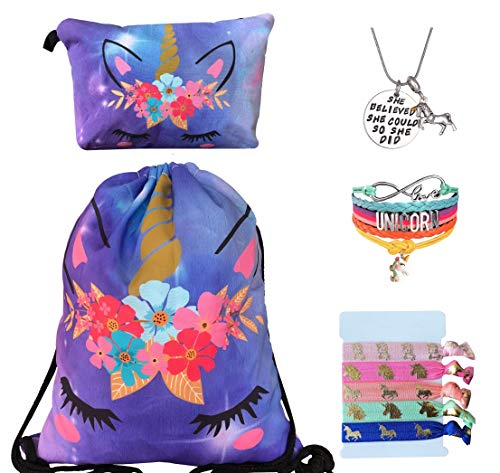 Unicorn Gifts for Girls - Unicorn Drawstring Backpack/Makeup Bag/Bracelet/Inspirational Necklace/Hair Ties (Purple Unicorn)