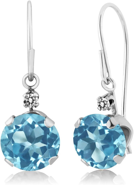 2.03 Ct Round Swiss bluee Topaz White Diamond 14K White gold Earrings
