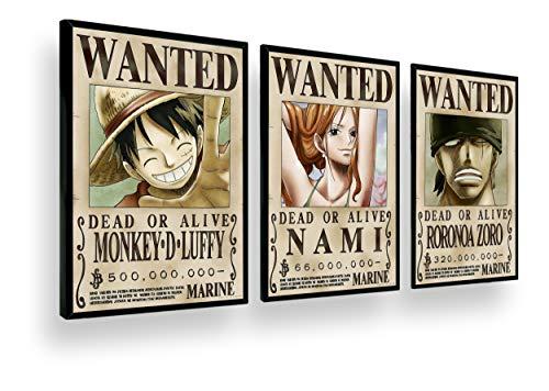 Quadro Decorativo Coleção One Piece Luffy Zoro Nami Retro