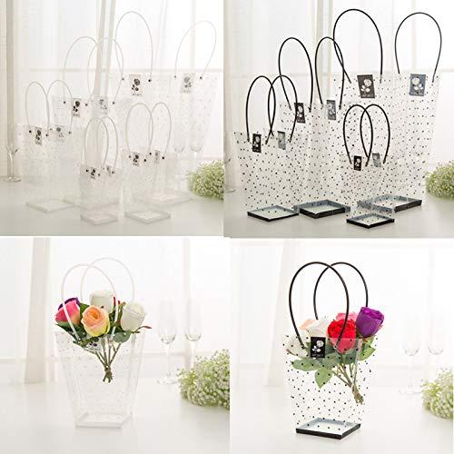 10 Stück wasserdichte Blumen-Verpackungstüten, transparente Blumenstrauß-Taschen mit Griff, Blumenstrauß, Geschenkverpackung, Partygeschenk, Goody Kleidung, Süßigkeiten-Taschen