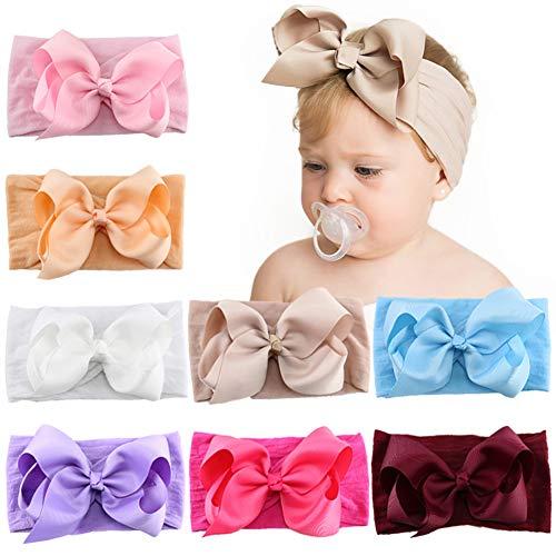 8pcs 5 Zoll Baby Mädchen Haarschleifen Nylon Stirnbänder Grosgrain Band Haarband Elastisches Haar Zubehör für Kinder Kleinkinder Kleinkinder