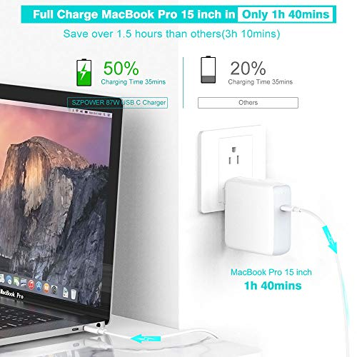 87W USB C Charger Power Adapter for MacBook Pro 15 inch 13 inch, MacBook 12 inch, MacBook Air, Thunderbolt 3 Port Type C, 2018 iPad Pro 12.9, 11, LED Indicator, 5A 6.6ft USB C to C Cable, A1707 A1990