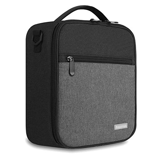 Lunch Box with Padded Liner,Amersun Spacious Insulated Lunch Bag Durable Thermal Lunch Cooler Pack with Strap for Men Women Boys Girls Adults School Sport Beach Picnic Work Camp,2 Pocket(Black Gray)