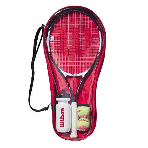 Wilson Roger Federer Starter Set 25, WR026810F Kit per Tennisti Principianti dai 9 ai 10 Anni, Racchetta, 1 Bottiglia, 2 Palline da Tennis, Borsa Porta-Kit