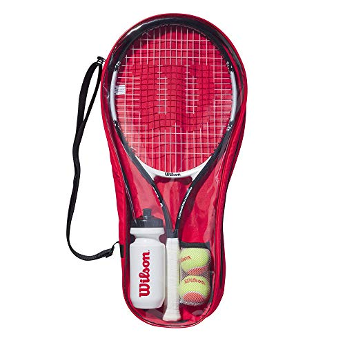 Wilson Conjunto de iniciación al tenis, Roger Federer Starter Set 25, Raqueta Roger Federer 25, Botella, 2 pelotas, Bolsa de transporte, De 9 a 10 años, WR026810F
