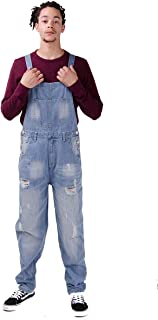 Wash Clothing Company Mens Loose Fit Dungarees Palewash Blue with rips bib Overall Festival Dungarees Mens Fashion