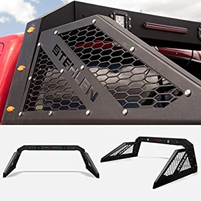 Stehlen 642167842477 Universal Adjustable Truck Bed Chase Rack Roll Bar with 3rd Third Brake Light & 2x LED Work Lamps Bars & 6x Amber Side Marker - Matte Black