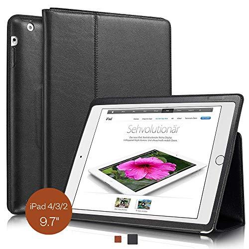 KAVAJ Lederhülle Berlin geeignet für Apple iPad 4 iPad 3 iPad 2 Hülle Echtleder Case Schwarz aus echtem Leder mit Stand und Auto Schlaf/Aufwachenen Funktion. Dünnes Smart-Cover Schutzhülle Tasche