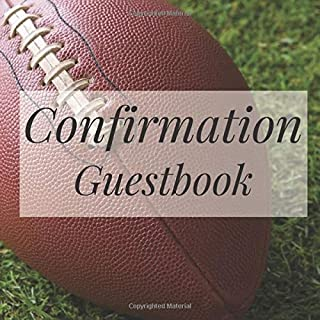 Confirmation Guestbook: American Football Sports Fan Player - Holy Christian Baptism Celebration Party Guest Signing Sign In Reception Visitor Book, ... Wishes, Photo Milestones Keepsake Ceremony