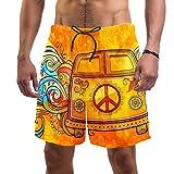 LORVIES - Bañador para hombre, estilo hippie, estilo vintage, para coche, mini furgoneta, playa, secado rápido, talla L multicolor XL