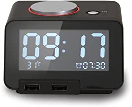 Homtime Multi-Function Alarm Clock, Indoor Thermometer, Charging Station/Phone Charger with Dual Port USB for iPhone/iPad/iPod/Android Phone and Tablets, Black
