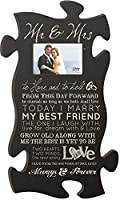 P. GRAHAM DUNN Mr & Mrs Always & Forever 4x6 Photo Frame 22 x 13 Wood Wall Art Puzzle Piece Plaque Frame [並行輸入品]