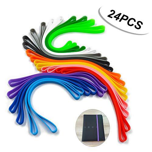 24 Stück Silikon-Gummibänder, elastische Gummibänder für Buchbänder, Kunstverpackungen, Übungspakete (24 Farben)