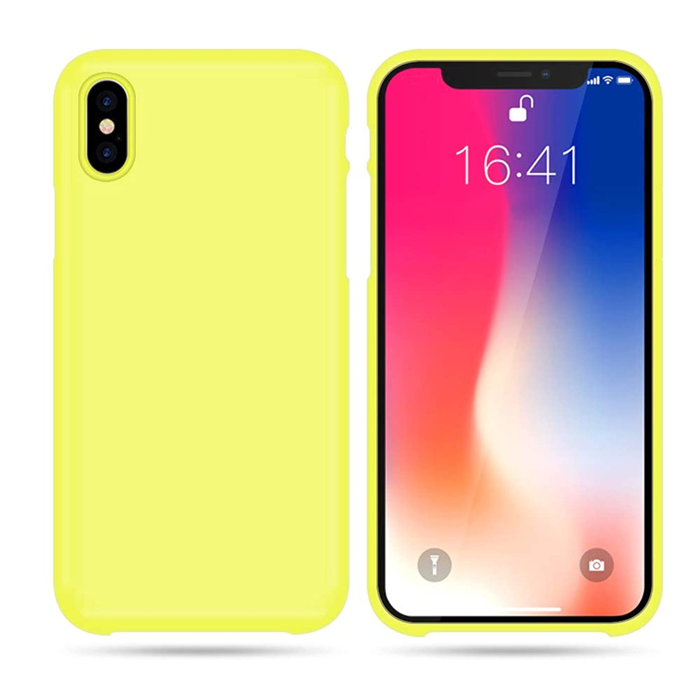 LOAZRE iPhone Xs Max Case,Liquid Silicone Gel Rubber Ultra Slim Fit Shockproof Cover with Soft Microfiber Cloth Cushion Compatible Apple iPhone Xs Max 6.5 Inch 2018 - Yellow