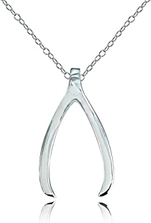 Sterling Silver Polished Wishbone Necklace