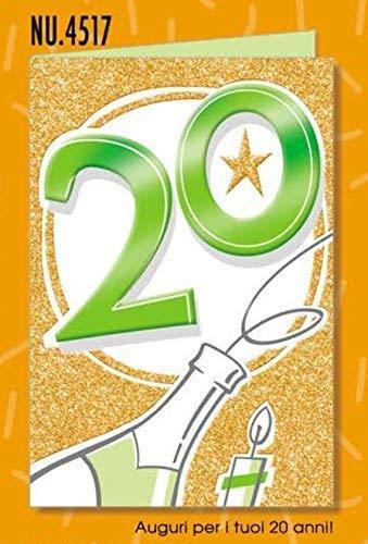 Subito Disponibile Biglietto Auguri Compleanno 20 ANNI Glitter Metal