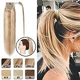 "Wrap Around Ponytail Hair Extension Human Hair 16"" Ash Blonde & Bleach Blonde"