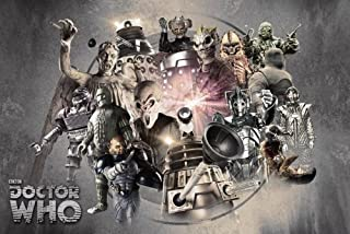 Doctor Who - TV Show Poster (Enemies Through Time - Daleks, Weeping Angels, Cybermen.) (Size: 36 inches x 24 inches)