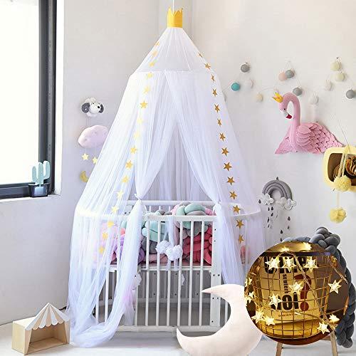 Funique bedhemel voor baby's, kinderen, leestent, katoen met sterren, muggennet, met 150 cm, LED, lichtketting, meisjes, decoratie voor slaapkamer, prinses, 240 cm
