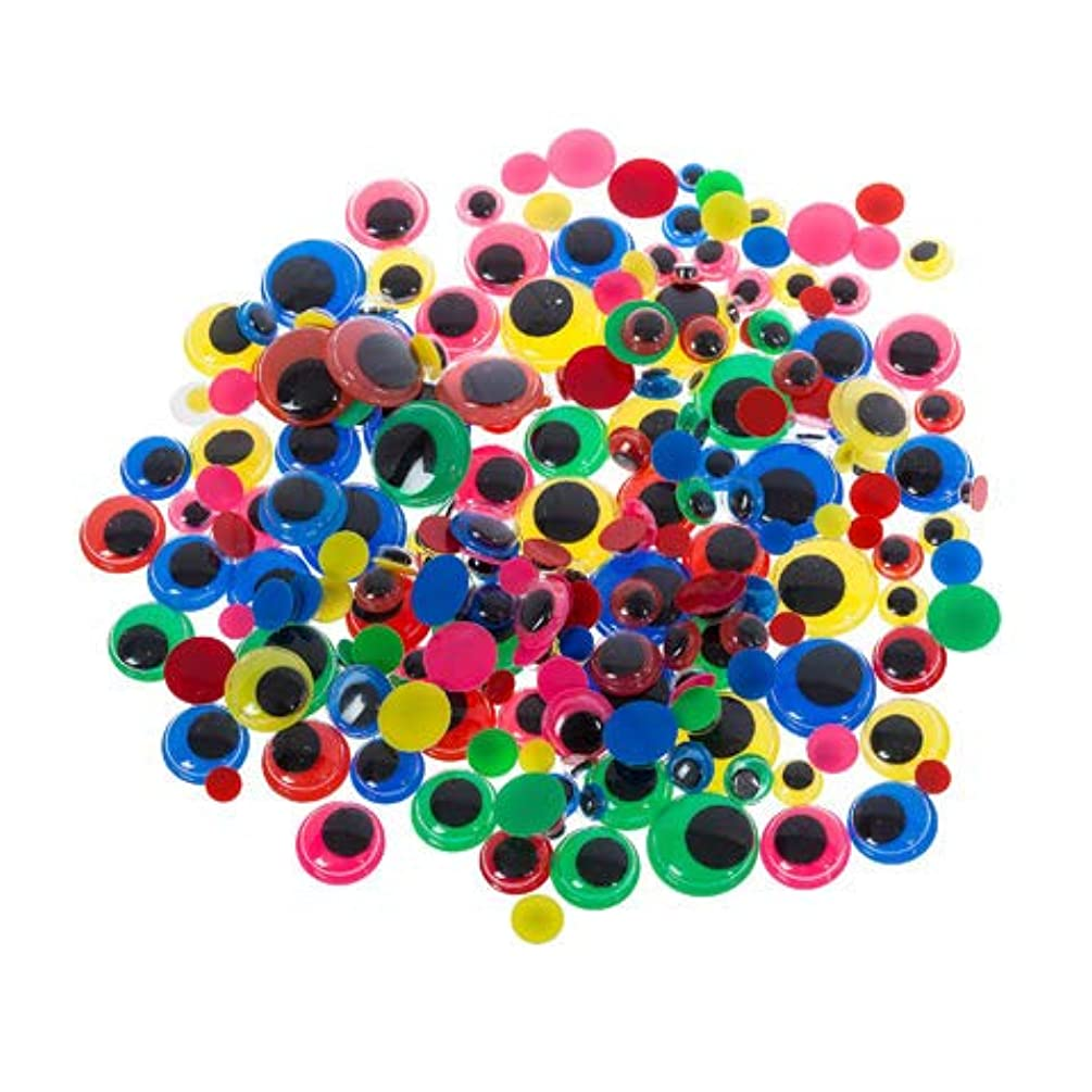 400Ct Colorful Wiggle Eyes with Black Pupils - Assorted Size   Ideal for Kindergarten School Craft Fun Projects