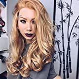 IMSTYLE Lace perücke blond Synthetic Hair Blonde Color Wig Long Wavy Heat Resistant Synthetic Lace Front Wigs