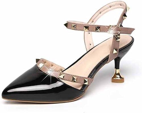 HAOBAO Summer Rivets Sandales pour Femmes Sauvages MultiCouleures Chaussures Chaussures Chaussures pour Femmes Pointues Chaussures à Talons Hauts 35-38 33b