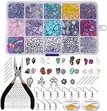 SUSHOU Chips Irregulares Kit de Cuentas de Piedras Preciosas de Piedra, con Ganchos de alambres de Oreja Anillos de Salto Línea de Cristal para Bricolaje Collar de joyería Pulsera Pendiente