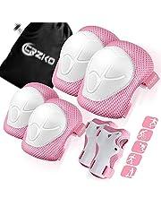 Beschermende uitrusting voor kinderen, kniebeschermers en elleboogbeschermers 6-in-1 set met polsbescherming en verstelbare riem voor skaten Skateboard Fietsen Skaten Fietsstep