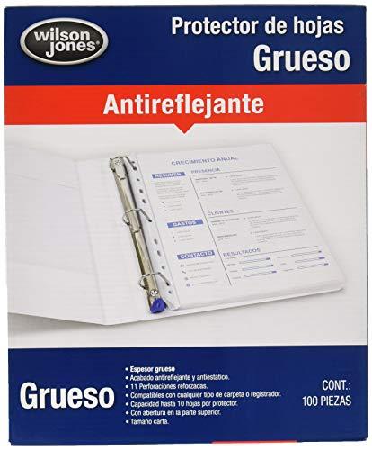 Wilson Jones P0571 Protector de Hojas Grueso, Paquete de 100 Piezas