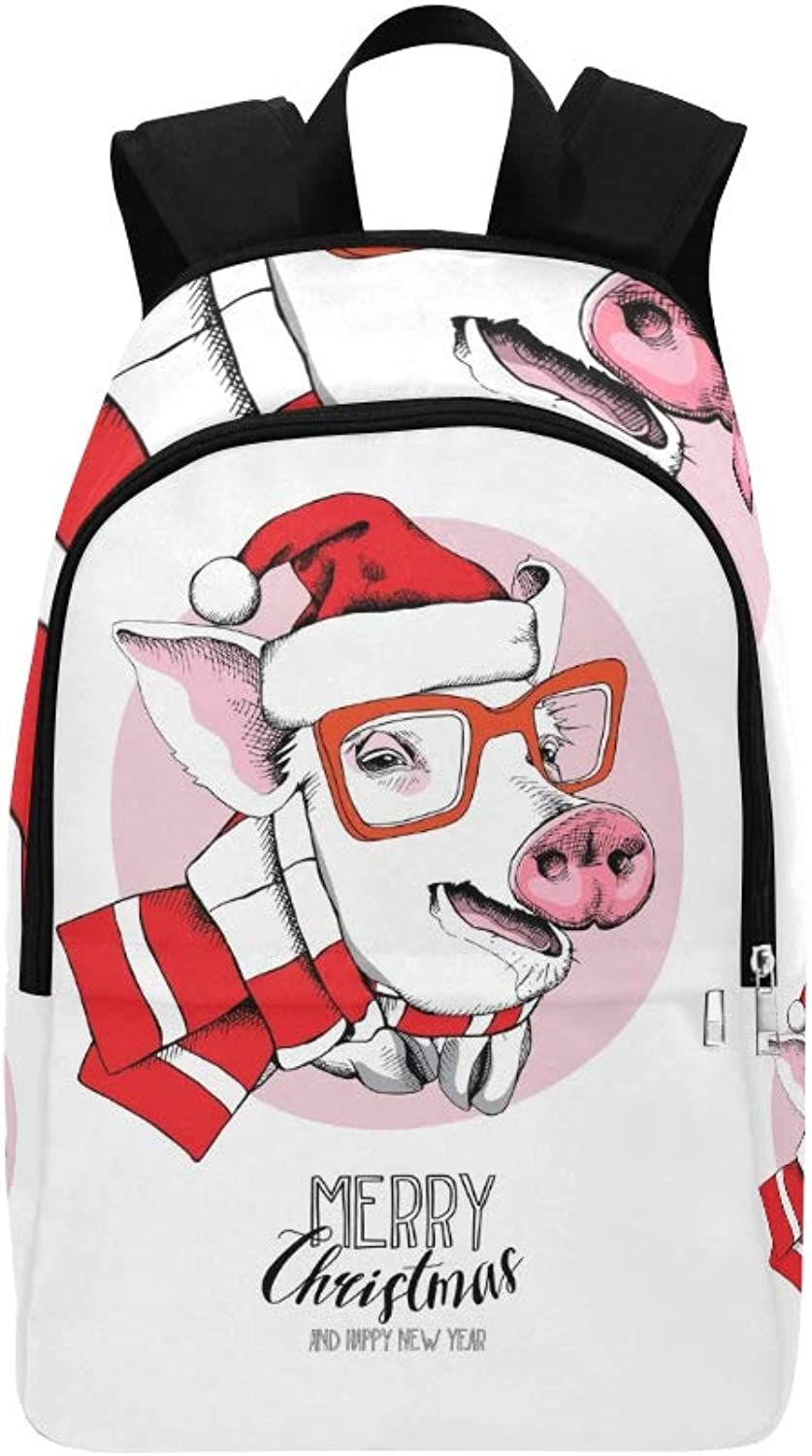 Christmas Card Portrait Pig Red Santas Casual Daypack Travel Bag College School Backpack for Mens and Women
