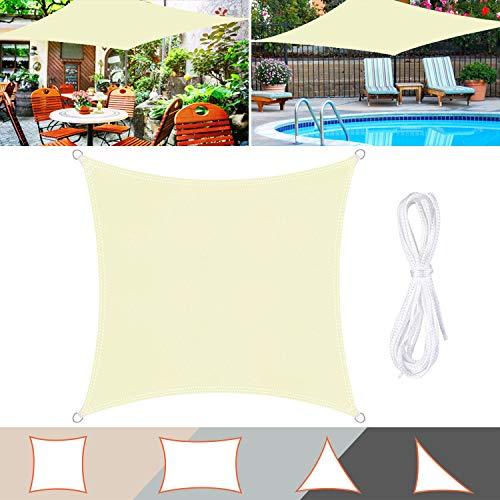 TedGem Sonnensegel, Sonnensegel Wasserdicht, Sonnenschutz Balkon, Sonnensegel Hergestellt aus hochwertigem Polyester, 160 g / m2. für Garten/Balkon/Terrasse (3x3M)