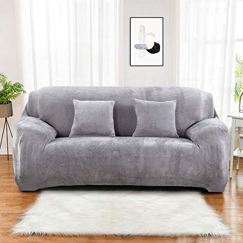 Sinoeem Sofa Covers 1/2/3/4 Seater (Free 2 pillow cases) Pure Color Sofa Slipcovers Protector Velvet Easy Fit Elastic Fabric Stretch Machine Washable Couch Slipcover (4 Seater:235-300cm, Light Gray)