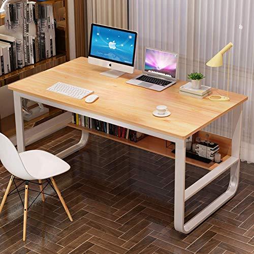 XHF Escritorio para Computadora de Escritura, Mesa para Computadora con Estantes de Alenamiento, Estación de Trabajo para Oficina en Casa, Mesa de Estudio Simple Multifuncional