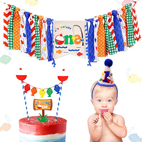 3-In-1 Gone Fishing First Birthday Party Decorations- Little Fisherman Highchair Banner The Big One Hat OFISHALLY ONE Cake Topper Bobber Baby Cake Smash Milestone Photo Booth Props Supplies